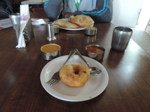 Enjoying a delicious breakfast, Indian style